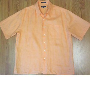 ALAN FLUSSER REGULAR FIT 100% LINEN SHIRT PEACH
